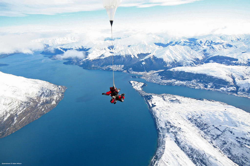 Skydiving over Queenstown after a Storm