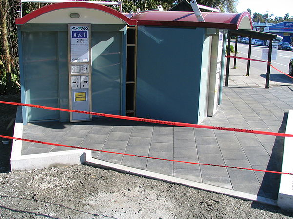 Firth pavers laid around the then new Franz Josef toilets
