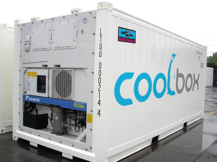A Boxman 20ft refrigerated container, branded with Coolbox imagery.
