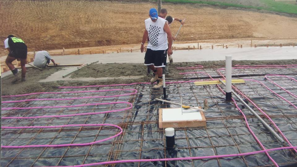Under floor heating pipework going in before the concrete slab is poured