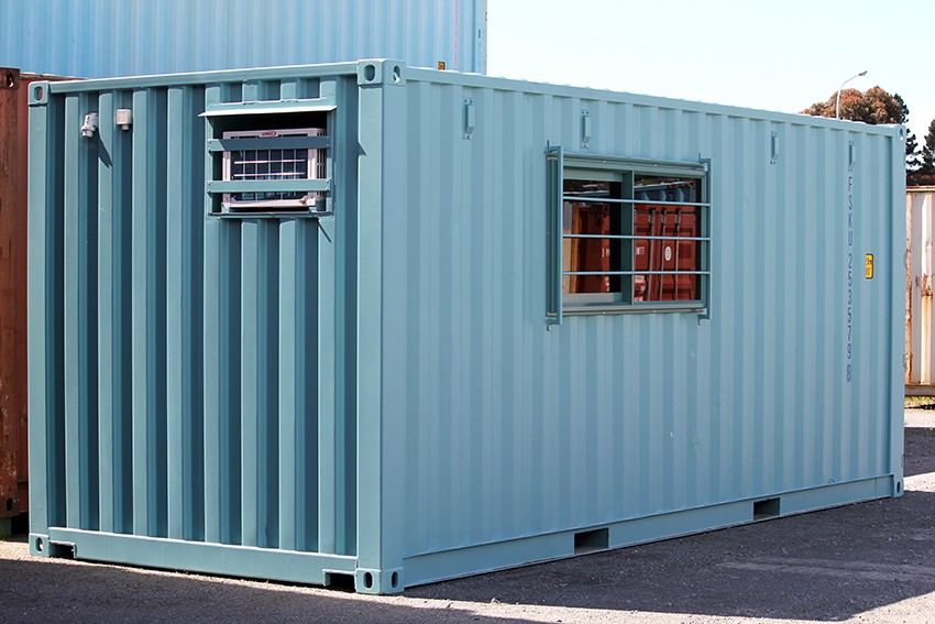 A modified 20 foot container, turned into a secure portable office.