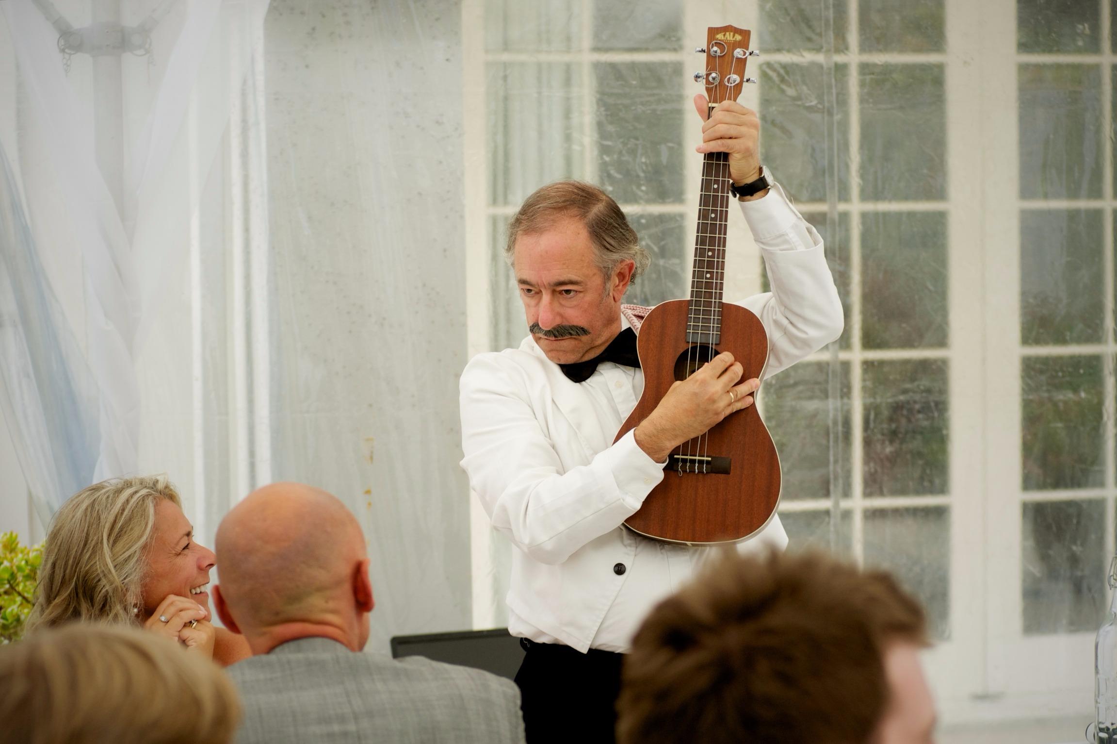 Manuel serenading guests...