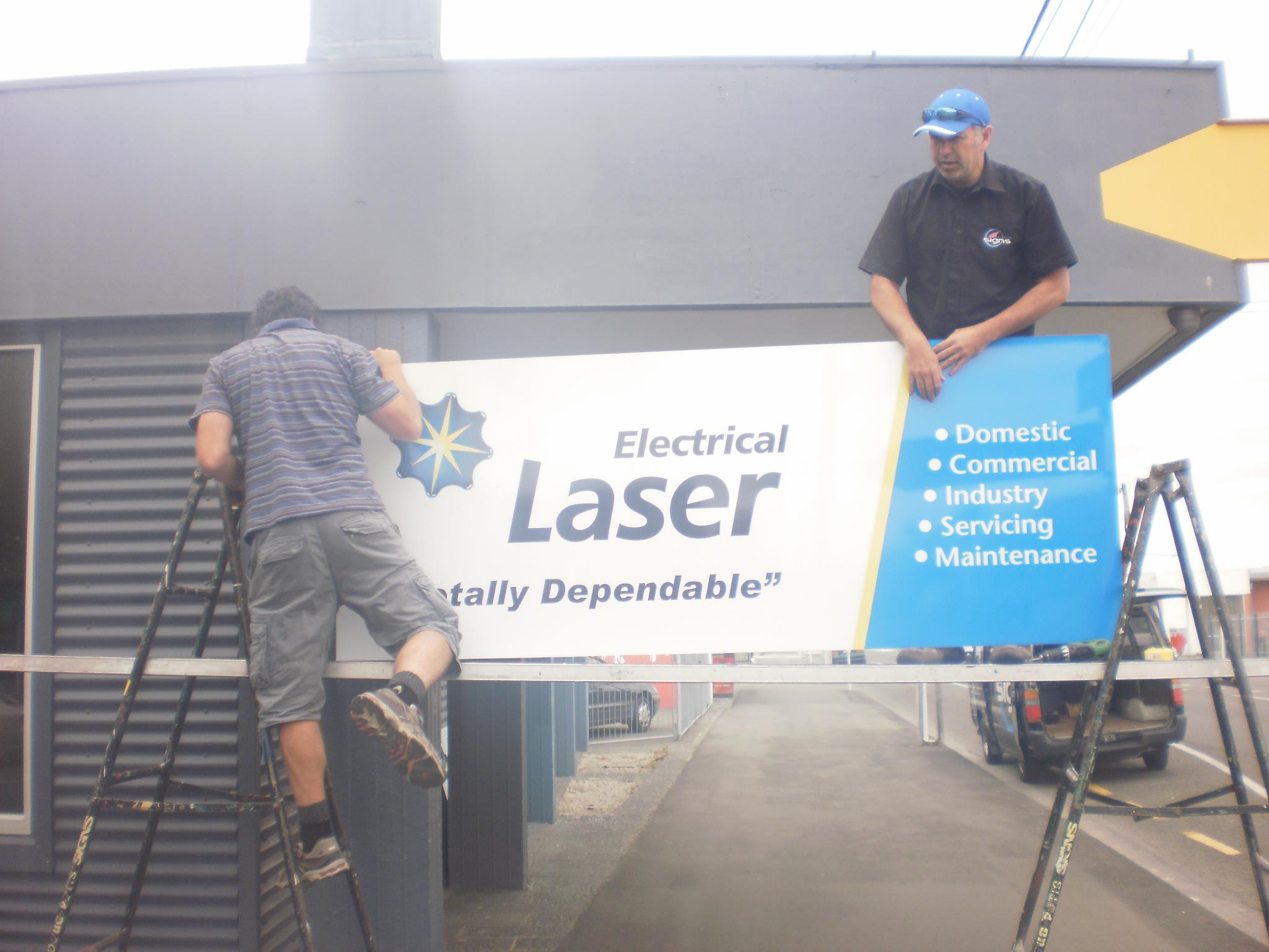 Laser Electrical Sign Installation