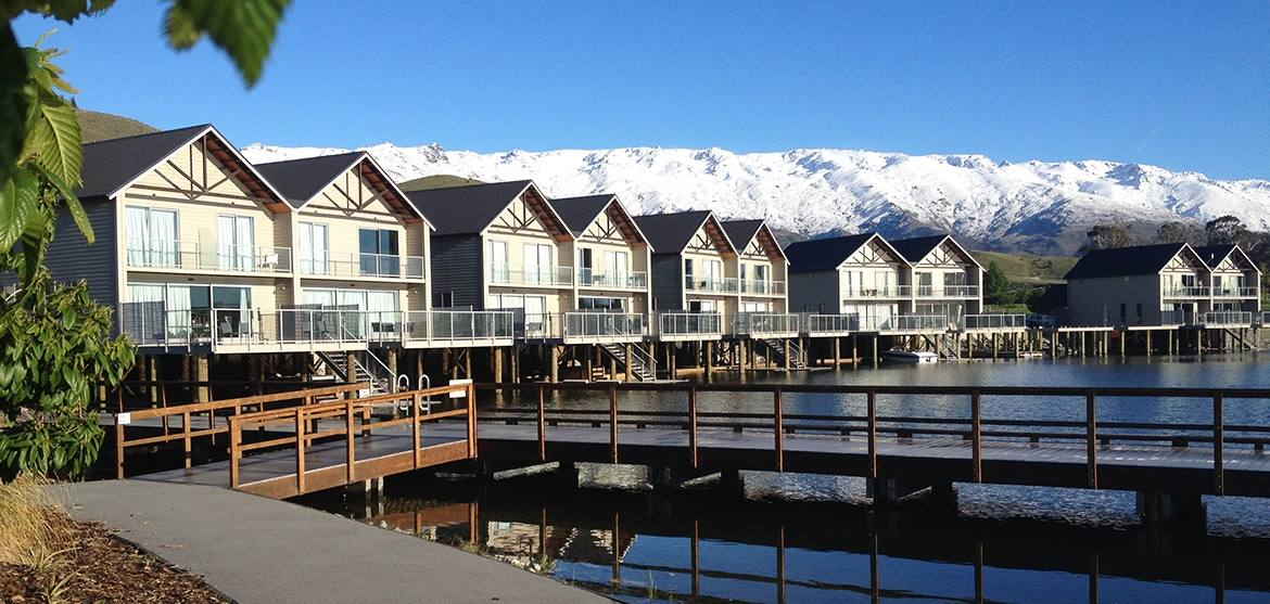 View of the Pisa Range during Winter from the Marina on Lake Dunstan