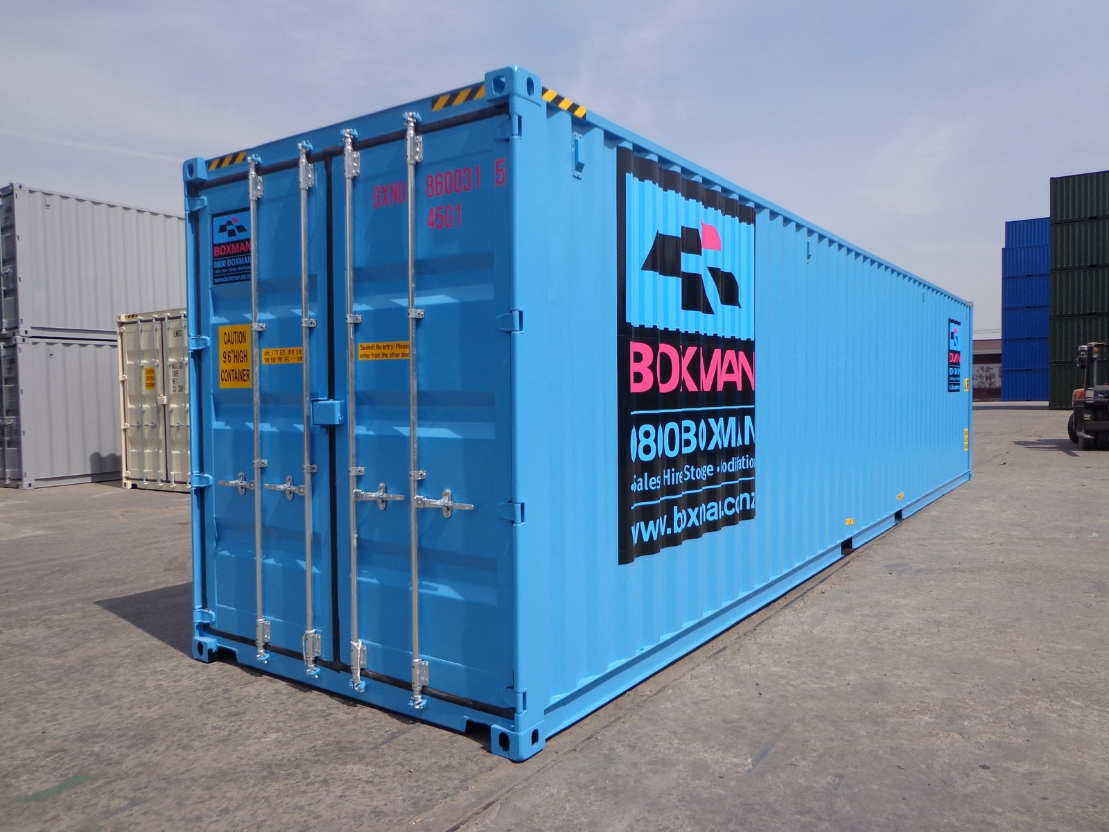 A brand new Boxman 40 foot High Cube container.
