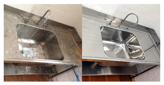 Restoring and Cleaning Stainless Steel School Basins