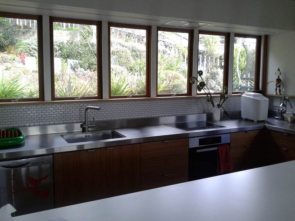 Freshly decorated kitchen with new wooden window