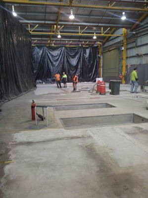 Andy Andersons Industrial Services 2007 Ltd in Auckland preparing a commercial flooring project